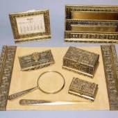 "10tlg. Schreib-Set ""Venetian"", Bronze, vergoldet, Tiffany Studios, New York 1913, Schätzpreis:2.200 - 2.600 EUR"
