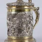 Großer Elbinger Deckelhumpen Silber, getrieben, gegossen, graviert, ziseliert und partiell vergoldet. Aufrufpreis:3.200 EUR