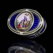 """Genfer Golddose Höhe: 2,7 cm. Durchmesser: 8,2 cm. Gewicht: 125 g. Genfer Beschau, Meistermarke """"J.S. Magnin & Cie (1772-1812)"""".  Schätzpreis:17.000 - 25.000 EUR"""