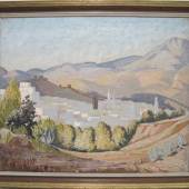 "Lloyd, Norman 1895 bei Newcastle, New South Wales - 1983 Yorkshire Weiße Stadt Öl/Lwd. 46 x 56,5 cm. R. u. signiert. Rückseitig auf dem Keilrahmen bez. ""Mountain village by Norman Lloyd"". Min. besch. Rahmen."