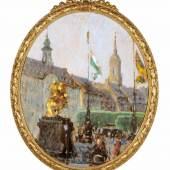 Gotthardt Kuehl, Blick auf den Dresdner Neumarkt mit Goldenem Reiter und Dreikönigskirche. Um 1908.   Mindestpreis:8.000 EUR Aufrufpreis: Schätzpreis:9.000 EUR