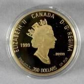 Goldmünze, 350 Dollar, Kanada, 1999 rosablütiger Frauenschuh, 999er Gold, Gewicht: 38,05 g, Stempelglanz, im hochwertigen O-Etui in Plexiglaskapsel und mit Zertifikat Schätzpreis:1.450 EUR