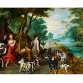 Jan Brueghel der Jüngere und Maler aus dem Kreis des Hendrik Van Balen, (1575 Antwerpen - 1632), 1601 Antwerpen - 1678 WALDLANDSCHAFT MIT MYTHOLOGISCHER SZENERIE Öl auf Holz. 55,5 x 90 cm.  Schätzpreis:80.000 - 120.000 EUR