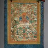 """Tibetischer Thangka auf Seide """"Tsongkhapa in der Erscheinungsform des Dombi-Heruka. Der mahāsiddha sitzt auf einem Tiger Aufrufpreis:1.400 EUR"""