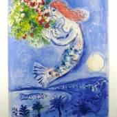 "Chagall, Marc (1887 - 1985), Die Bucht der Engel"". Plakat Aufschrift ""Nice Soleil Fleurs Marc Chagall"".  Aufrufpreis:1.000 EUR"