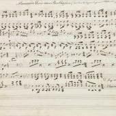 Ludwig van Beethoven - - Marcia in C-Moll. (Marcia de Luis van Beethofen). Notenhandschrift in brauner Tinte. Ohne Ort u. Jahr. (1. Hälfte 19. Jahrhundert). Quer-4°. 1 Bll. Montiert in Mod. Lwd.-Mappe.  Schätzpreis:10.000 EUR