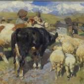 Zügel, Heinrich von 1850 Murrhardt - 1941 München, Öl auf Leinen, Kühe und Schafe vor dem Gatter, rechts unten signiert, unleserlich datiert, 40,5x62 cm, im Rahmen, Mindestpreis:2.200 EUR