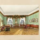Nachtmann, Franz Xaver.  1799 Obermais - München 1846 Interieur mit Biedermeiermöbeln und Ausblick auf einen Bergsee.  Aufrufpreis:12.000 EUR