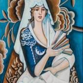 Nathalija Sergejewna Gontscharowa 1881 Ladyschno/Tula - 1962 Paris Spanierin mit Fächer.  Schätzpreis:4.000 - 5.000 EUR