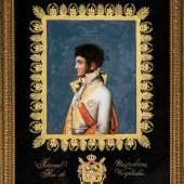 """Museale Glasplatte mit Brustbildnis von """"Jérome Napoléon Roi de Westphalie"""" Signiert """"QUIRIN GRAVEUR"""", um 1807,  Schätzpreis:6.000 - 8.000 EUR"""