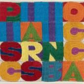 "Alighiero Boetti ""Pisciarsi in bocca"" Handstickerei auf Leinwand. (Ca. 1976). Ca. 17,5 x 18,5 cm. Mindestpreis:25.000 EUR Aufrufpreis:25.000 EUR Schätzpreis:25.000 - 35.000 EUR"