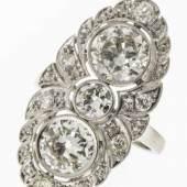 Außergewöhnlich repräsentativer Diamant-Ring Platin (geprüft).  Aufrufpreis:4.500 EUR