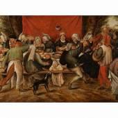 Pieter Brueghel d. J., um 1564 Brüssel - 1637 Antwerpen KERMESSE Öl auf Holz. 22,5 x 40 cm. Beigegeben Expertise von Dr. Klaus Ertz.  Schätzpreis:70.000 - 100.000 EUR