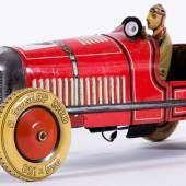 Roter Rennwagen Tipp & Co. Um 1930. Länge ca. 49 cm. Uhrwerksantrieb funktionstüchtig, Mindestpreis:1.800 EUR