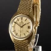 "Herrenarmbanduhr ""Omega Constellation"" Gehäuse u. Armband 750 GG, ca. 130 g total, große Sekunde, Datum bei der 3, Automatikwerk Mindestpreis:4.000 EUR"
