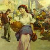Vizkelety, W. Emery(1819-1895) Ungarn, Marktszene. Aufrufpreis:350 EUR