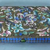 ZIGARETTENETUI rechteckig, beidseitig dekoriert mit farbigen Blütenranken als Dekor, Mindestpreis:300 EUR