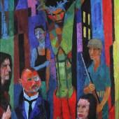 Fritz Berberich (Schnappach 1909-1990 Schnappach) Kreuzigung, Ei-Tempera auf Holzplatte, ca. 140 x 96,5 cm Mindestpreis:ohne Limit