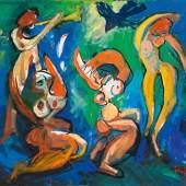 Alfred Kornberger * Vier musizierende und tanzende Akte, 1995 Öl auf Leinwand; ungerahmt; 120 × 140 cm, Aufrufpreis:10.000 EUR Schätzpreis: