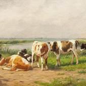 """VAN LOKHORST, Dirk Peter. 1848 Utrecht, seit 1894 in Berlin tätig, war Tier- und Landschaftsmaler. """"Weidende Kühe am Weiher. Mindestpreis:300 EUR"""
