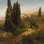 Achenbach, Oswald Düsseldorf 1827 - 1905 Malerin unter Zypressen im Park der Villa d'Este bei Rom. Schätzpreis:15.000 - 20.000 EUR