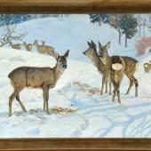 """Hoess, Eugen Ludwig, 1866 Immenstadt - 1955 Langenwang Öl/Lwd, 70 x 90 cm, """" Rehe auf verschneiter Waldlichtung """", Mindestpreis: 1.500 EUR"""