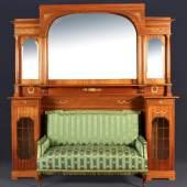 Salonmöbel mit Spiegelaufsatz Mahagoni, Bronzeappliken, Mindestpreis: 2.500 EUR