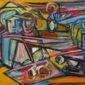 Prof. Hilde Goldschmidt, Komposition mit Figuren Personen an einem Tisch sitzend, Ölpastellzeichnung, Mindestpreis: 180 EUR