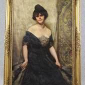 Batowski Kaczor, Stanis?aw (Lemberg 1866 - 1946 Lemberg) Gemälde, Öl auf Leinwand, Dreiviertelportrait einer Dame der Gesellschaft,  Mindestpreis: 2.500 EUR