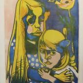 """Böckstiegel, Peter August (Arrode 1889 - 1951 Arrode) Farblithographie """"Bauernkinder"""" auf Bütten, Mindestpreis: 1.200 EUR"""