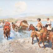 Los 43 FRANZ ALEKSEJEWITSCH ROUBAUD 1856 Odessa - 1928 München Tscherkessenreiter überqueren einen Fluss Mindestpreis:58.000 EUR