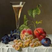 Emilie Preyer Stillleben mit Sektflöte Öl auf Leinwand 31,5 x 24,5cm Taxe: 22.000 - 26.000 Euro