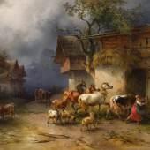 Friedrich Gauermann Schätzpreis € 80.000 - 160.000 (Miesenbach 1807-1862 Wien) Heimeilendes Vieh in einem Gebirgsdorf bei Regen, 1854