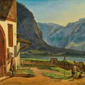 Ferdinand Georg Waldmüller Schätzpreis € 80.000 - 160.000 (Wien 1793-1865 Helmstreitmühle bei Mödling) Blick vom Hallstätter Friedhof gegen Obertraun, 1829