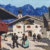 Alfons Walde * Schätzpreis € 100.000 - 200.000 (Oberndorf 1891 - 1958 Kitzbühel) Dorfplatz in Aurach, um 1933