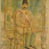 Lot 127-A portrait of Mirza 'Ali Asghar Khan (Amin al-Mulk al-Sultan, Atabeg-i Azam), signed by Isma'il Jalayir, Persia, Qajar, circa 1880, Est £80,000-120,000