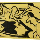 Zwei Frauen  Lithograph printed in black and orange, 1914, a rich, textured impression of this very rare print, one of only two known impressions printed in colours  Estimate £100,000-150,000 / €120,000-179,000