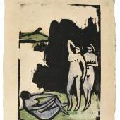 Drei Badende, Moritzburg The rare woodcut printed in blue, green and black, 1910, the second (final) state, one of only five known impressions printed in colours Estimate £80,000-120,000 / €95,500-144,000