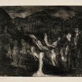 Augustfeuer  The very rare etching, 1923, printing with selectively wiped platetone, a strong impression of the only state Estimate £6,000-8,000 / €7,200-9,600