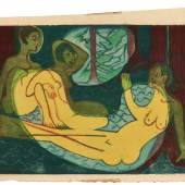 Drei Akte im Walde  Woodcut, 1933, a vibrant impression, the colours fresh, printed from seven blocks in turquoise, blue, red, yellow, dark-green, ochre and lightgreen, the rare fourth state (of five), one of approximately 30 known impressions in various states and colours Estimate £80,000-120,000 / €95,500-144,000