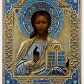 Lot 139: Christus Pantokrator mit Cloisonné-Email-Oklad, Russland, Ende 19. Jh. (Ikone), Moskau, 1894 (Oklad), Erlös 19.000* Euro