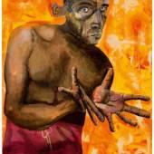 Lot 15. Albert Oehlen, Selbstportrait mit leeren Handen, 1998, oil and acrylic on canvas, est. £4,000,000-6,000,000