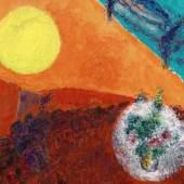 Lot 15 MARC CHAGALL (1887 – 1985) Repos dans le ciel multicolore Signed Marc Chagall (lower right); signed Marc Chagall (on the reverse) Oil on canvas Painted circa 1980 92 x 65 cm Estimate : 1 200 000-1 800 000 €