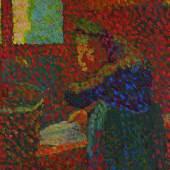 Lot 162 Edouard Vuillard, La grand mère a l'évier, circa 1890, oil on card mounted on panel (£200,000-300,000)
