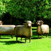 Lot 20 FRANCOIS-XAVIER LALANNE 1927 - 2008 Les Trois Grands Moutons de Peter 2007 gilt patinated bronze  Each monogrammed FXL,dated 2007 and numberedEA 4/4 A and with foundry mark bocquel Fd. on the hoofs The largest: 81 x 105 x 45 cm; 31 ⅞ x 41 ⅜ x 17 ¾ in. Lot sold: €2,052,500