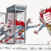 Lot 20, GERALD SCARFE THE STORY OF SUPERMAN SAVING THE WORLD550 by 840mm. pen, ink and watercolour drawing £4,000-6,000