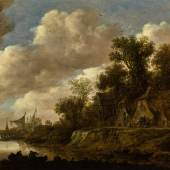 Lot 22, van Goyen River landscape with farmhouses and a dovecote upon a high bank_ £150,000 - 200,000
