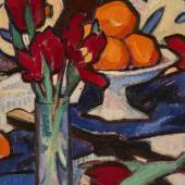 Samuel John Peploe Still Life with Tulips and Oranges oil on canvas laid on board Estimate £250,000-350,000