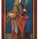 Lot 303: Nürnberg, in der Werkstatt Albrecht Dürers, um 1510, Heiliger Vitus und Heiliger Andreas, Gegenstücke/Flügelaußenseiten aus einem unbekannten Retabelzusammenhang, Mischtechnik/Nadelholz, 123 x 56 cm, Ergebnis: 33.000 €