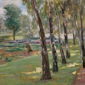 Lot 31 Max Liebermann, Die Birkenallee im Wannseegarten, Blick auf das Kohlfeld, 1919, oil on canvas, 70 by 90cm. (est. £600,000-800,000)
